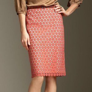 Talbots Lace Pencil Skirt Coral Size 10